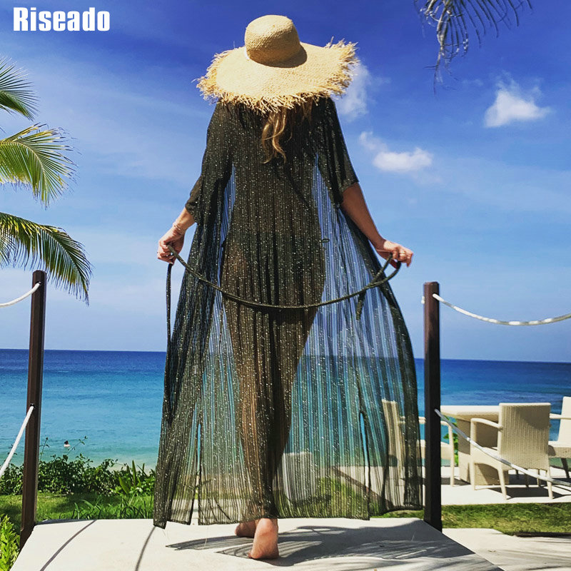 Riseado New 2020 Beachwear Cover Up Bikinis Sexy Mesh Long Beach Dress Swimwear Women Half Sleeve Swimsuit Bathing Suits