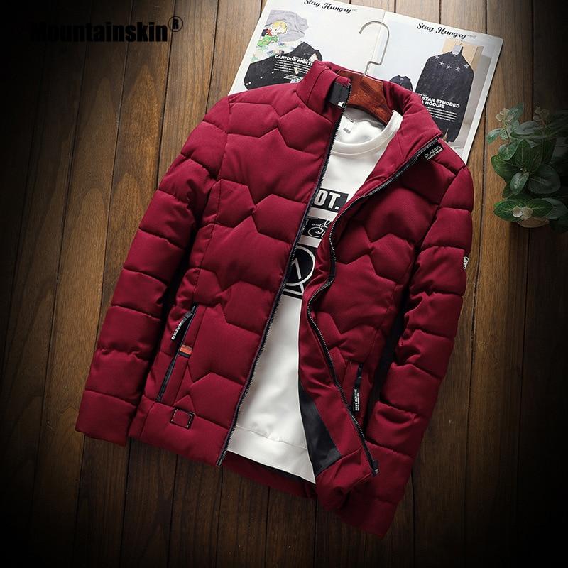 Mountainskin Winter Men Jacket 2019 Men's New Casual Thicken Warm Cotton Jacket Slim Clothes Youth Soild Jacket Men's Wear SA743