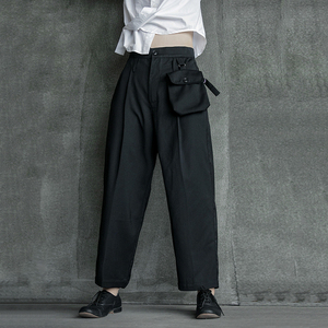 Image 3 - [EAM] High Waist Black Pocket Suit Long Trousers New Loose Fit Pants Women Fashion Tide All match Spring Autumn 2020 1B209