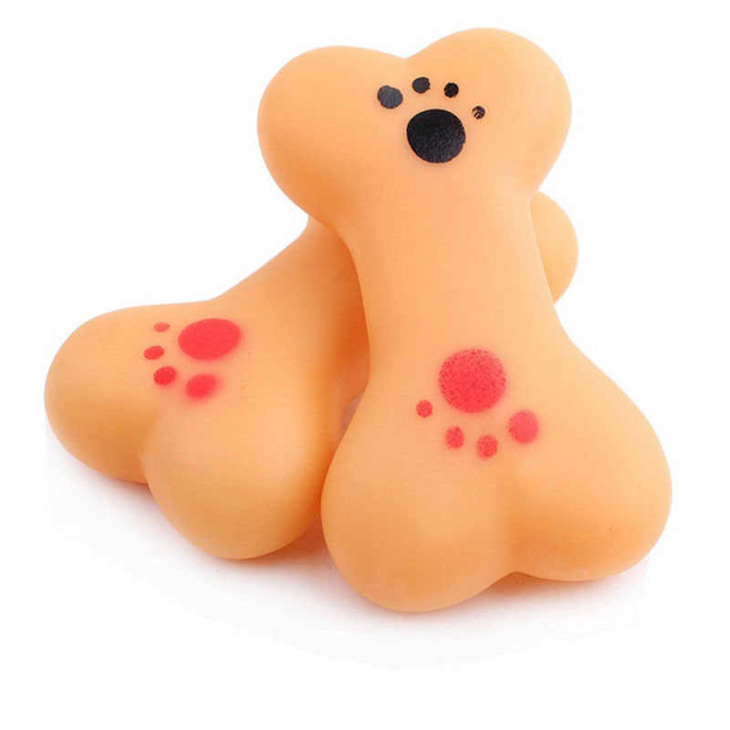 1PC Transer Pasokan Hewan Peliharaan Anjing Mainan Karet Bentuk Tulang Mencicit Suara Interaktif Mengunyah Mainan untuk Anjing Kecil Anjing