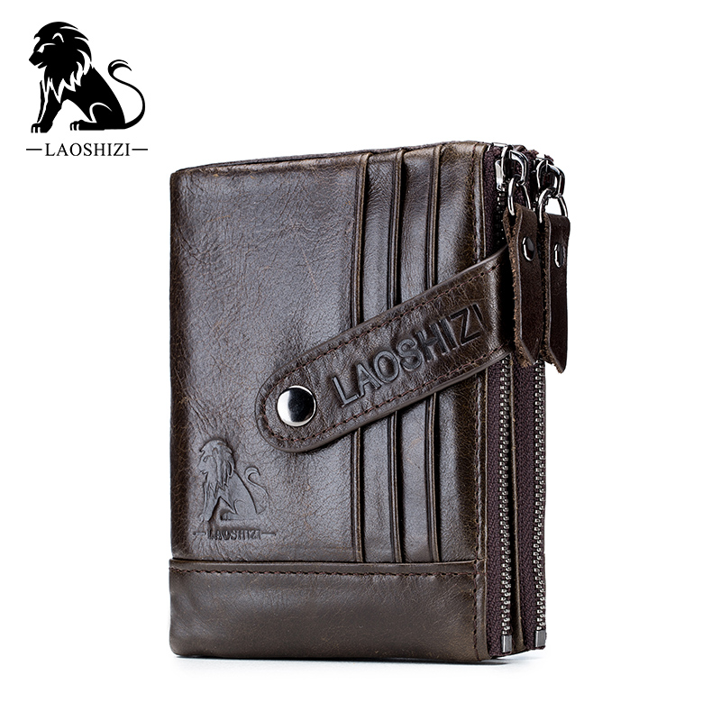 Genuine Leather Wallet Cowhide Leather Men Wallets Double Zipper Short Purse Coin Pockets Anti RFID Card Holders Wallet Men