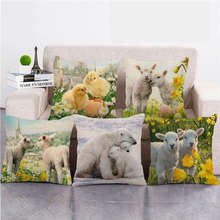 Pillow-Covers Throw Merry-Christmas Home-Decor Animal Linen/cotton Cute 45cm--45cm Couch