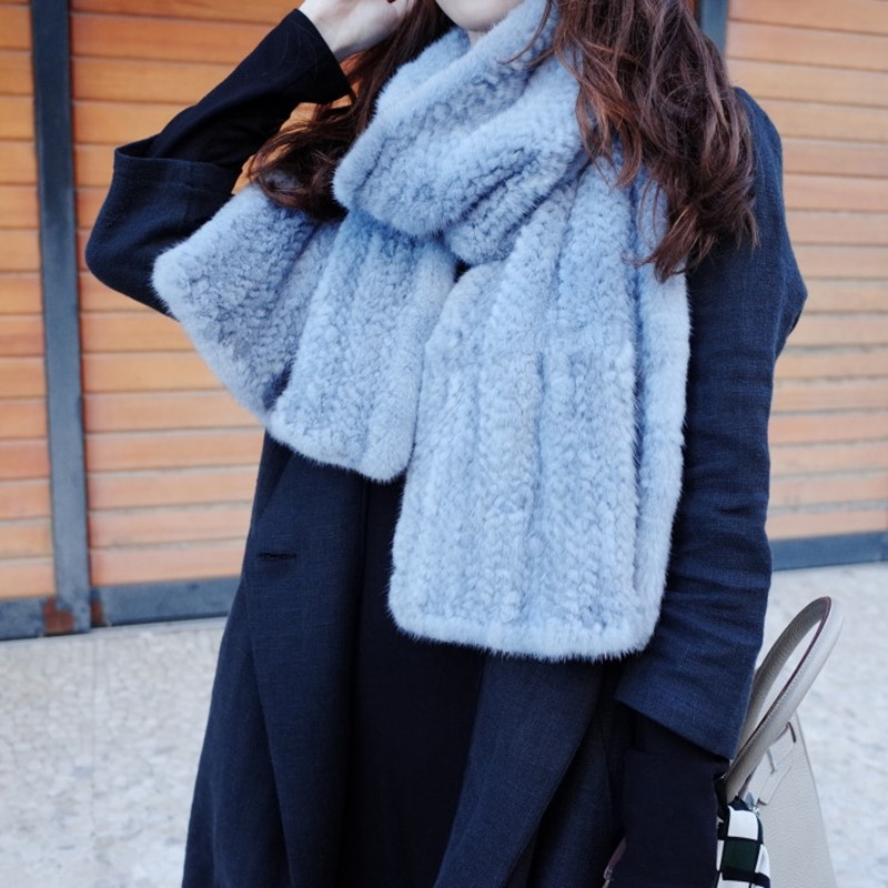 Haute qualité fait à la main hiver femmes dame filles étudiant fourrure foulards gris kaki écharpe garder au chaud vison tricoté écharpe 180cm