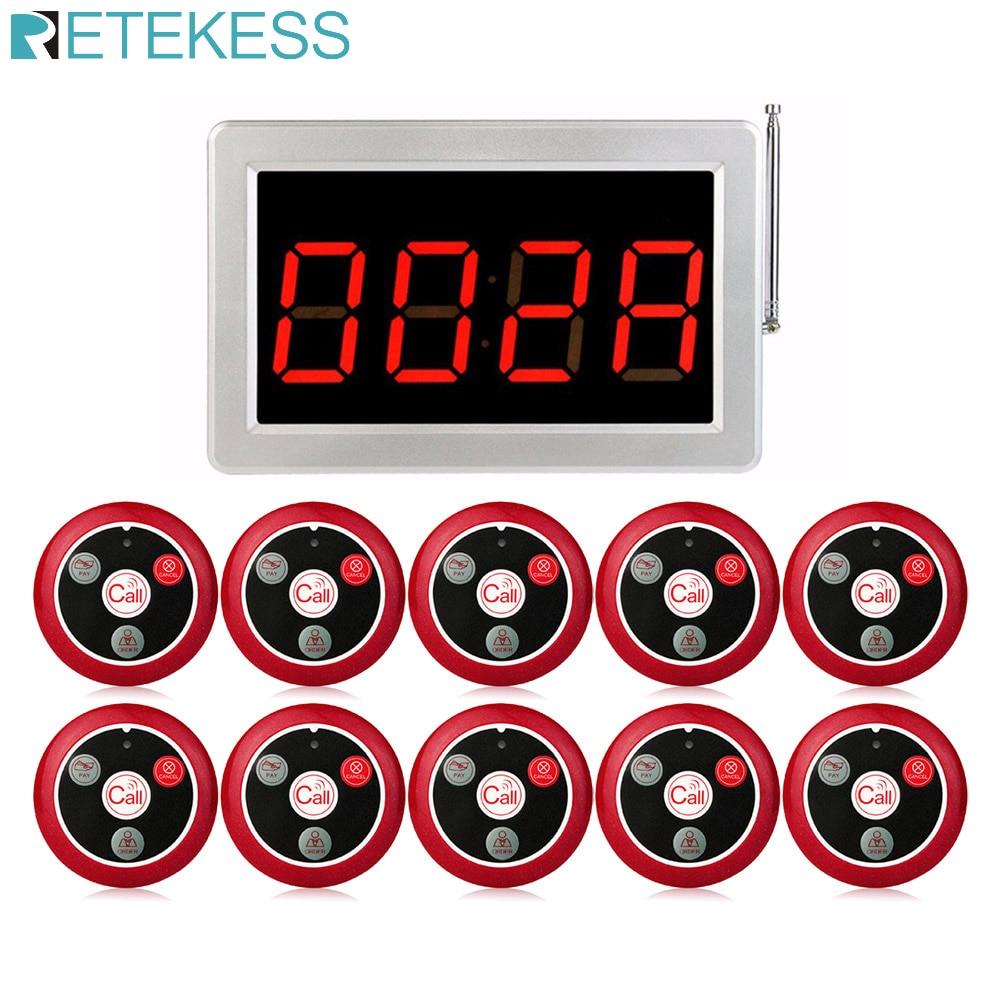 Système d'appel de serveur sans fil RF 999 canaux RETEKESS pour système de téléavertisseur de Service de Restaurant 1 récepteur hôte + 10 boutons d'appel