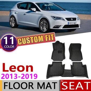 Tapis de sol en cuir de voiture sur mesure pour SEAT Leon MK3 5F 5 sièges 2013 ~ 2019 accessoires de tapis de protection de pied automatique 2014 2015 2016 2017 2018