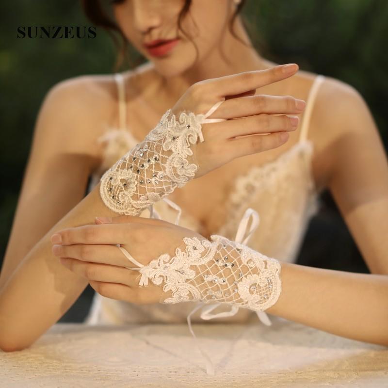 Bruids Handschoen Kort Fingerless Women Wedding Gloves Ivory Lace Short Bridal Glove SFG08