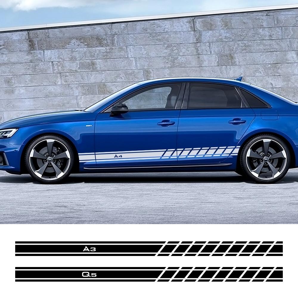 2 adet araba kapı yan etek çıkartmalar Audi A4 B5 B6 B7 B8 A3 8P 8V 8L a5 A6 C6 C5 C7 A1 A7 A8 Q2 Q3 Q5 Q7 TT RS3 RS4 aksesuarları