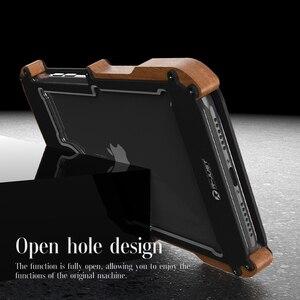 Image 4 - R Just 알루미늄 금속 케이스 For iPhone 12 Pro 최대 충격 방지 케이스 For iPhone 11 Pro Max Xs XR 8 7 6 목재 + 금속 안티 노크 커버