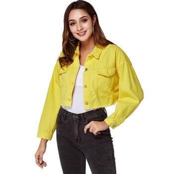 Women Denim Jacket Boyfriend Jean Jackets Plush size Vintage Long Sleeve short Jackets Casual Loose Coat Yellow bomber jacket цена 2017