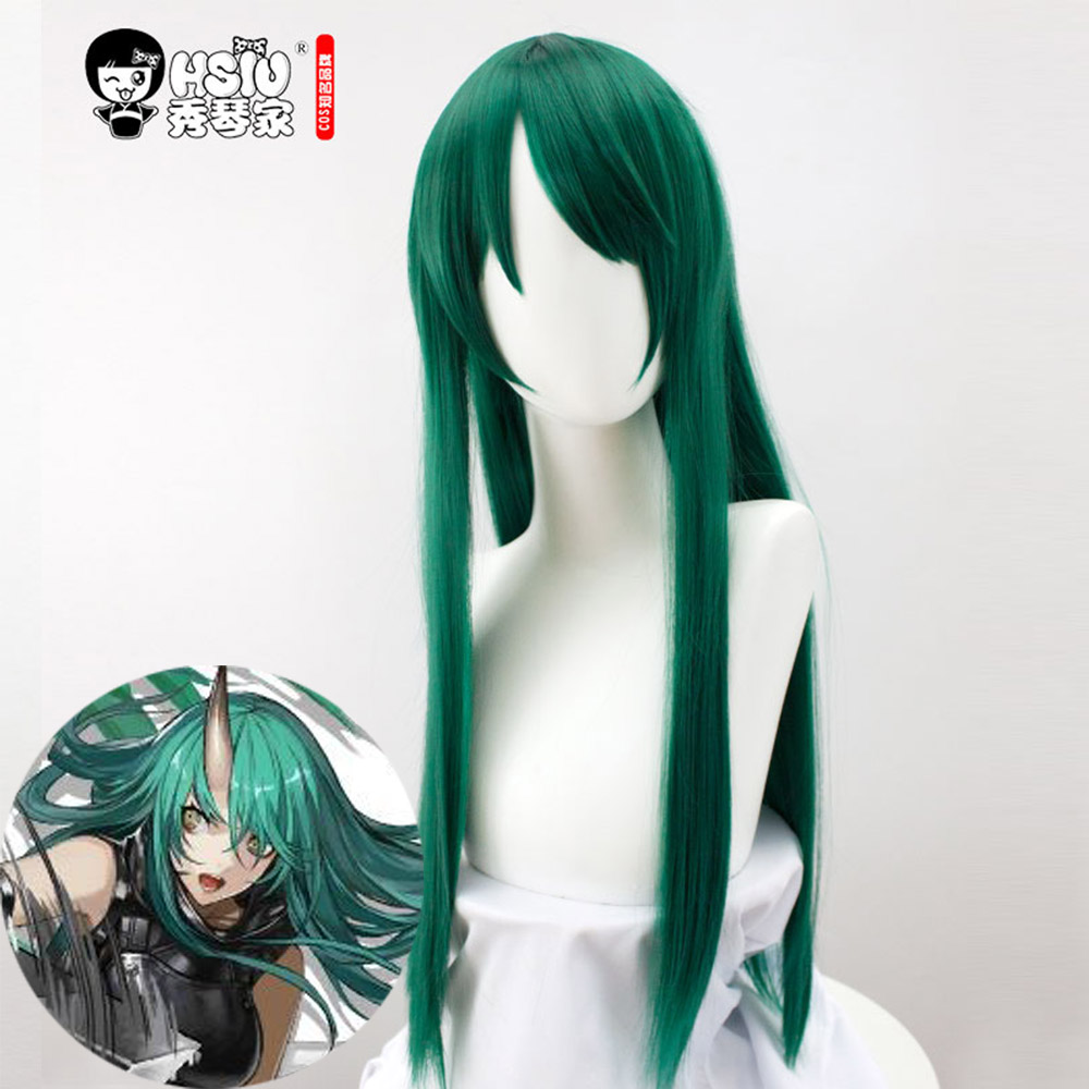 HSIU Hoshiguma  Cosplay Wig,Game Arknights Wig,Special Green Long Hair,Cosplay Girl Wig Halloween Green Long Wig