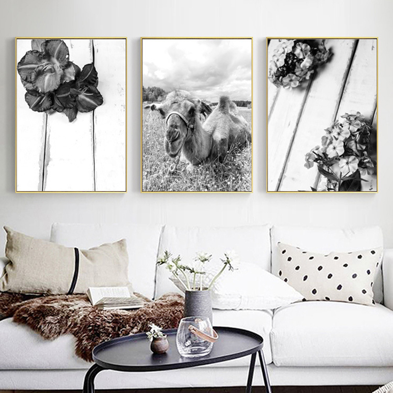 Modern Black White Decoration Canvas Painting Camel Plant Wall Art