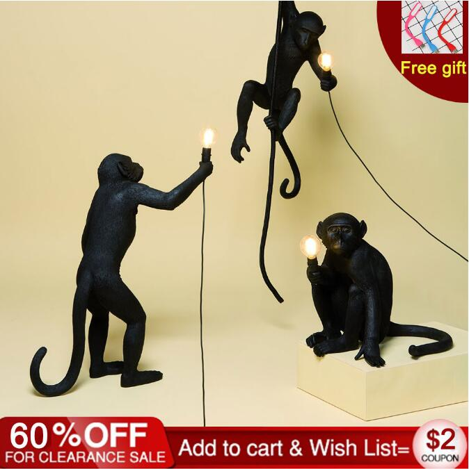Resin Black White Gold Monkey Lamp Pendant Light For Living Room Lamps Art Parlor Study Room Led Lights lustre With E27 Led Bulb|Pendant Lights| |  - title=
