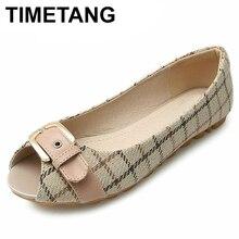 Timetangsummer Shoes Female Peep Toe Flats Large Size Shoes Spring Women Flat Shoes Gingham Fabric Flats For Teenage Girlse867