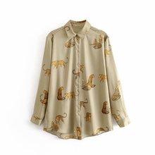 new women vintage animal print casual smock blouse autumn la