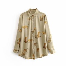 new women vintage animal print casual smock blouse autumn ladies leopard pattern shirts