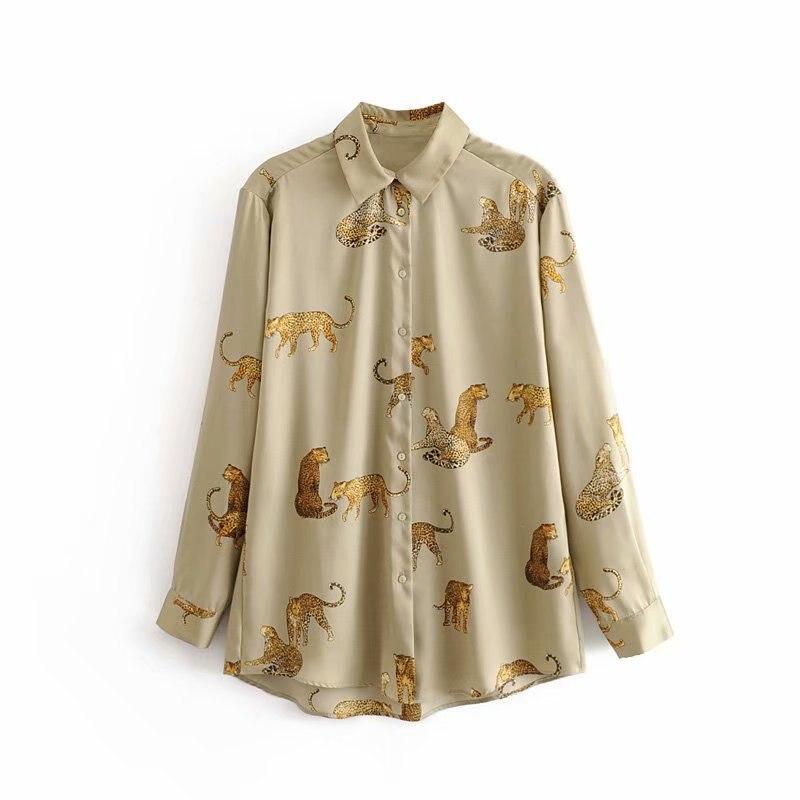 new women vintage animal print casual smock blouse autumn ladies leopard pattern shirts chic femininas kimono blusas tops LS4397(China)