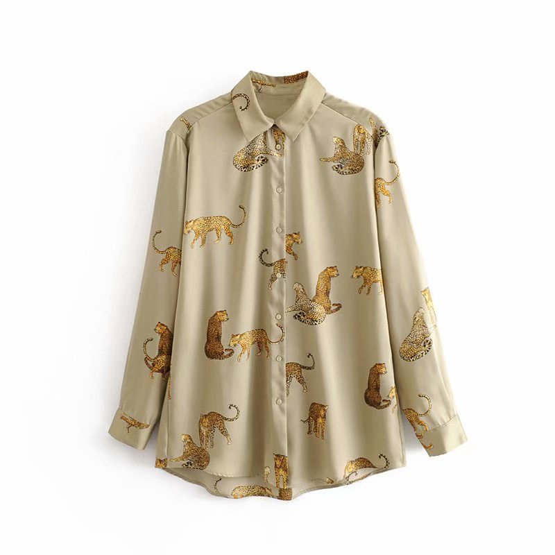 new women vintage animal print casual smock   blouse   autumn ladies leopard pattern   shirts   chic femininas kimono blusas tops LS4397