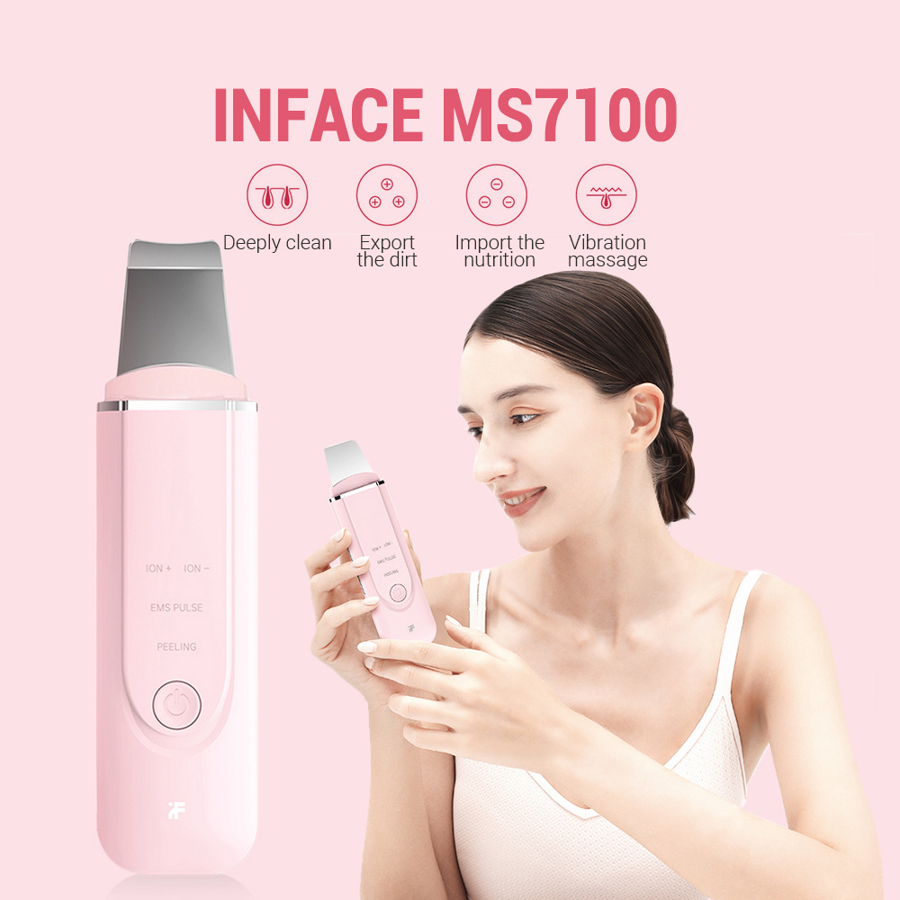 InFace MS7100 Ultrasonic Peeling Machine Beauty Facial Pore Cleaner Machine  Blackhead Skin Scrubber High Frequency Vibration|Home Use Beauty Devices| -  AliExpress