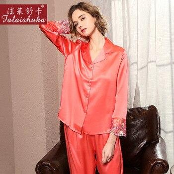 Sexy red long sleeve 100% genuine silk pajamas sets women sleepwear Korean Elegant fashion pure silk womens pyjamas T8192