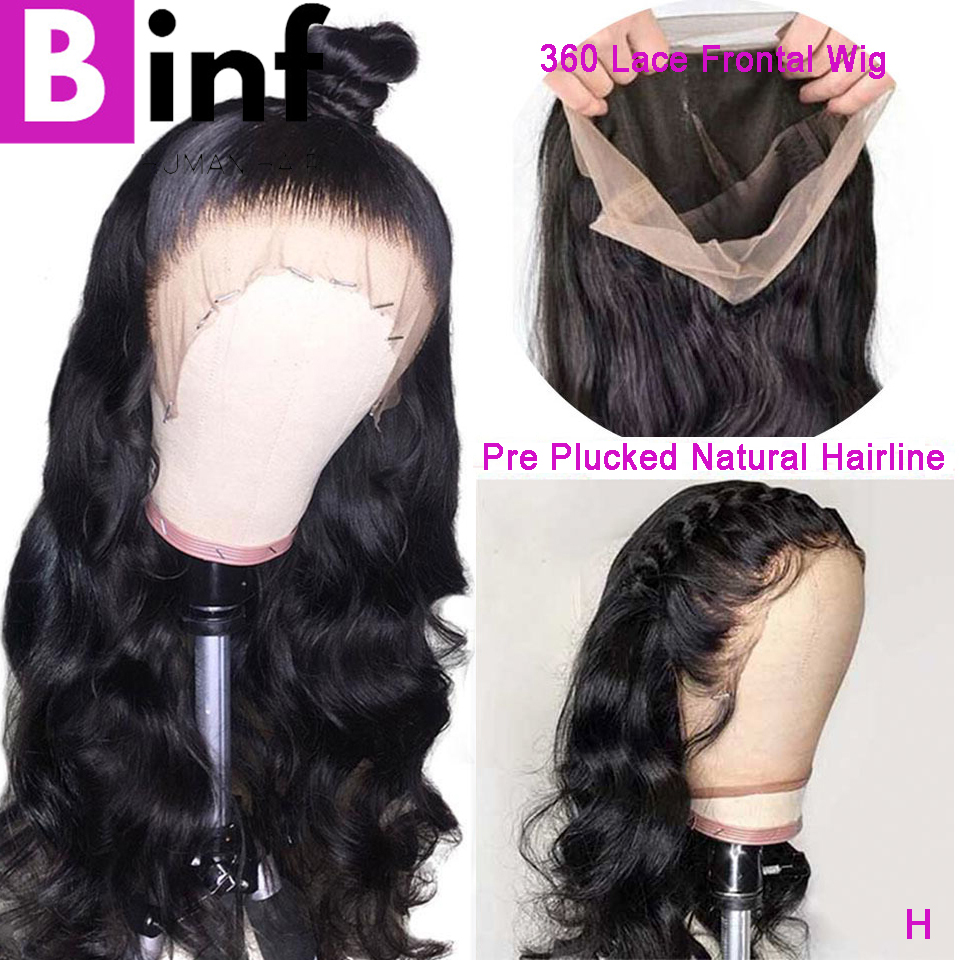 BINF Body Wave 360 Lace Frontal Wig High Ration Indian Remy Hair Pre-Plucked With Baby Hair 150% Density 10-24 Inches Color 1B