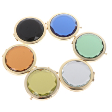цены 1Pc Luxury Crystal Makeup Mirror Portable Round Folded Compact Mirrors Gold Silver Pocket Mirror Making Up for Personalized Gift