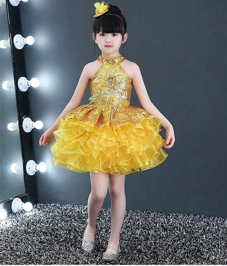 Короткие пышные красивые платья с оборками для маленьких девочек недорогой танцевальный костюм лавандового, красного, желтого цвета платье с блестками для маленьких девочек - Цвет: Цвет: желтый