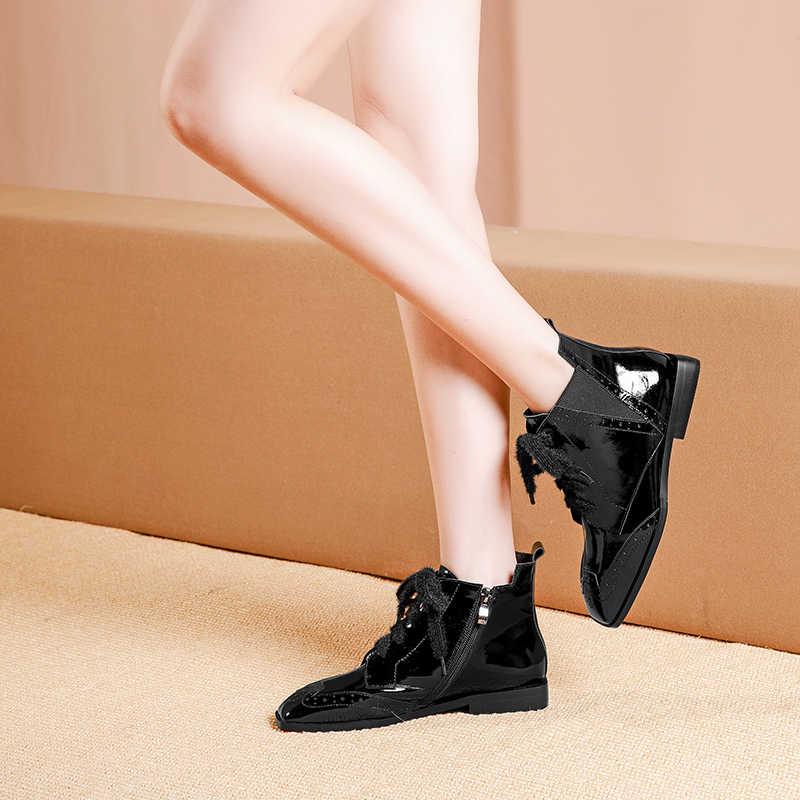 Kadın kış chelsea çizmeler hakiki deri ayak bileği dantel düz çizme kadın kısa siyah çizmeler 2020 kadın botları
