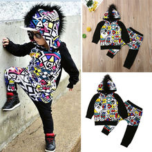 2Pcs Toddler Kid Baby Boy Clothes Set Hooded Hoodies Sweatershirt Tops+Long Pants Kids Outfits Clothes 2Piece Set цена и фото