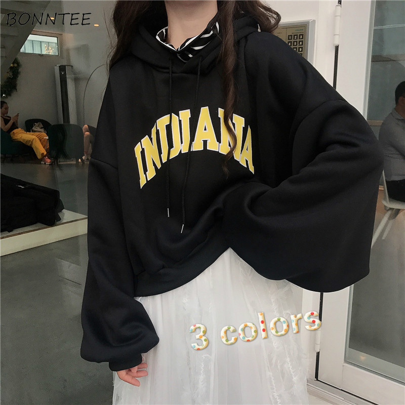 Hoodies Women Short Style Hooded Plus Velvet All-match Loose Students Casual Pullover Sweatshirt Fashion Ulzzang Kpop Simple New