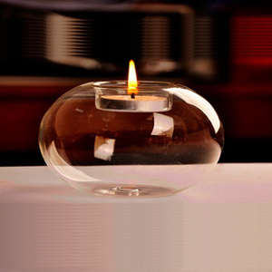 Glass Round Hanging Candle Light Holder Candlestick Party Home Decor Romanti