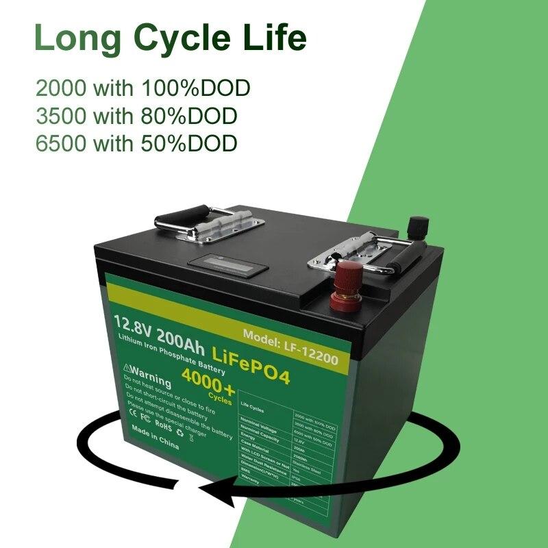 12V 200Ah LiFePO4 Batterij Pack Met Bulit Bms 2400Wh Lithium-ijzerfosfaat Lifepo4 Batterij Voor Rv Golf auto Kampeerders Geen Belasting 6