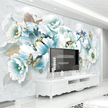 Papel Tapiz Elegant Custom Wall Sticker Stickers 3d Butterfly Flowers Home Decor Room Decorations Wall Stickers Poster Wallpaper