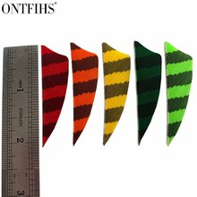 50Pcs ONTFIHS New 2 Inch Arrow Feather Shield Cut Hunting Accessories Stripe Feathers for Arrows Archery
