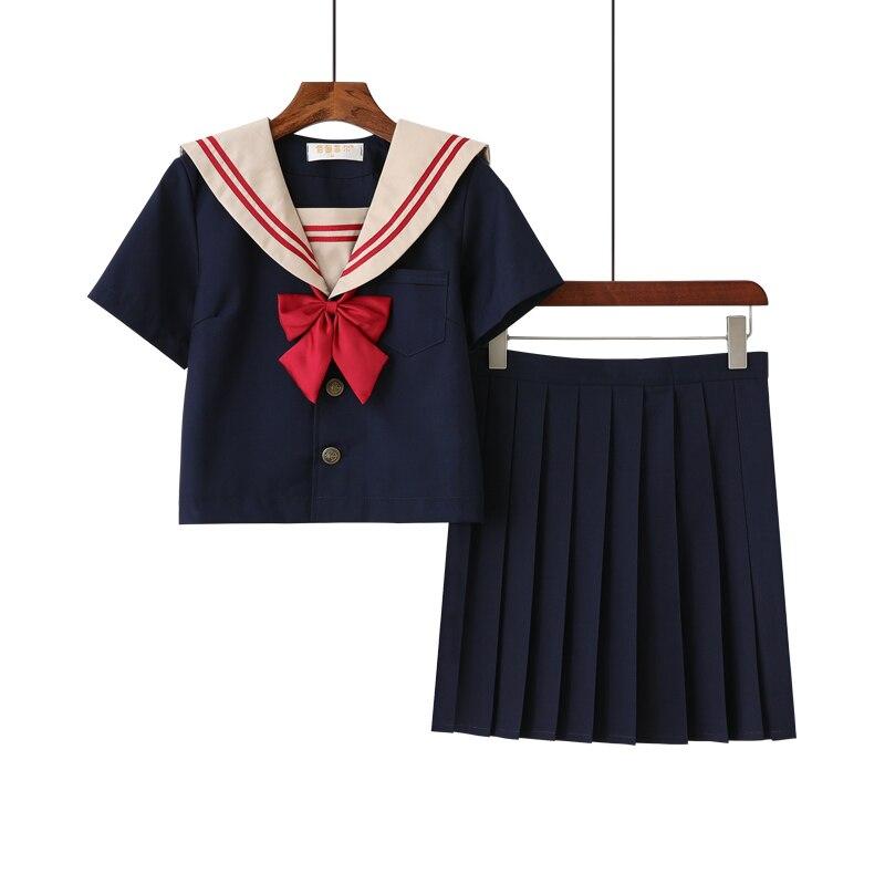 New Arrival Girls Uniform Black Hell Girl Cosplay Sailor Suit JK School Uniforms Sailor Tops Pleated Skirt Student Clothes