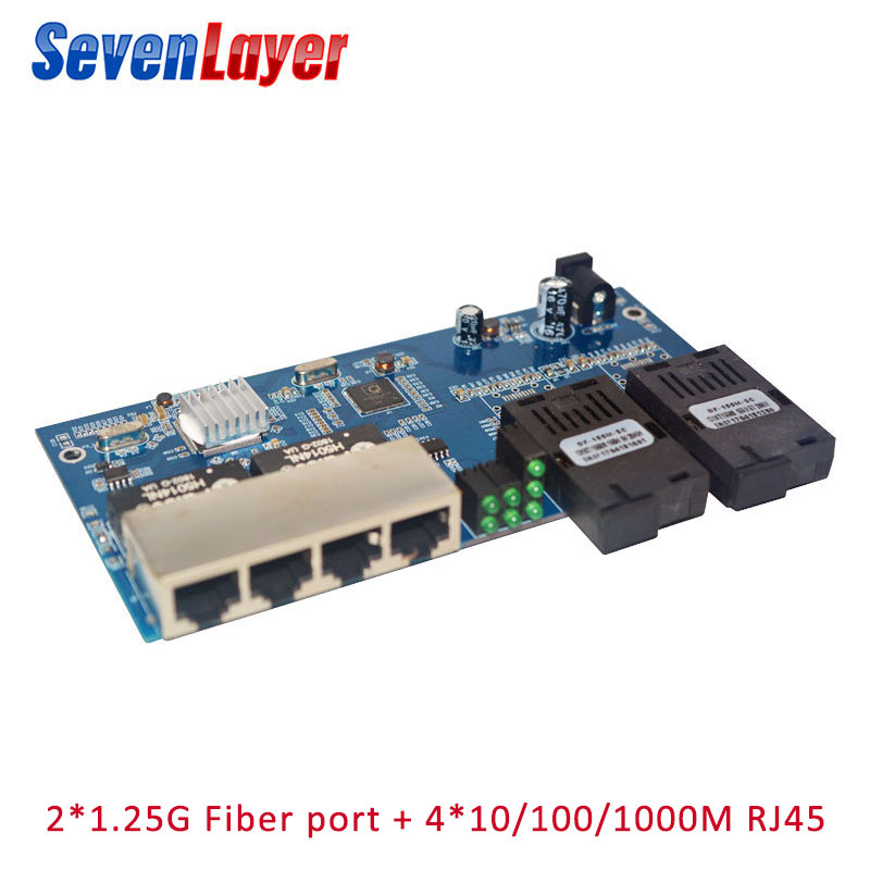 10/100/1000M Fiber Switch 4 RJ45 UTP 2 SC Fiber  Gigabit Fiber Optical Media Converter 2SC 4 RJ45 4 UTP Ethernet PCBA Board