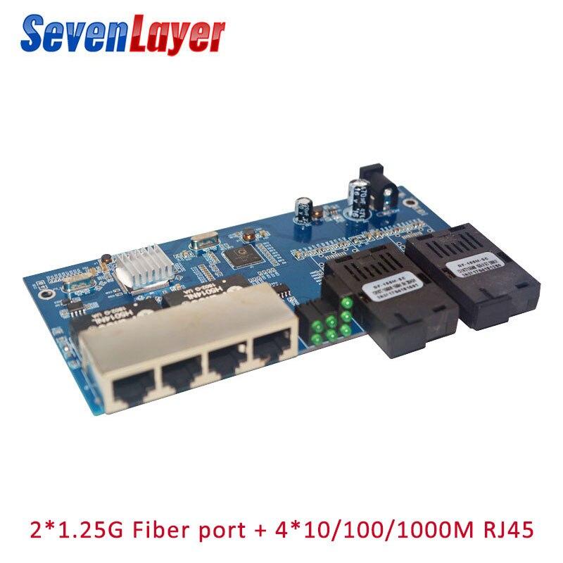 10/100/1000M Fiber Switch 4 RJ45 UTP 2 SC Fiber  Gigabit Fiber Optical Media Converter 2SC 4 RJ45 4 UTP Ethernet PCBA Board