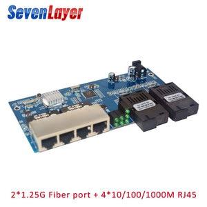 10/100/1000M fiber switch 4 RJ45 UTP 2 SC fiber Gigabit Fiber Optical Media Converter 2SC 4 RJ45 4 UTP Ethernet PCBA board(China)