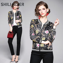 2020 spring autumn fall jacket for women long sleeve slim casual print flower floral elegant short baseball cloth coats black(China)