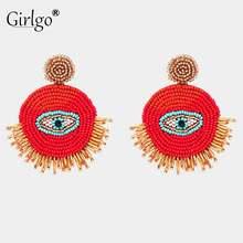 Girlgo классические модные глаз Акриловые серьги с подвеской