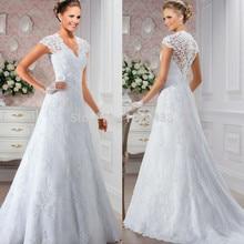 Vintage Cap Sleeves Lace 2018 Elegant Vestidos appliques Vestido De Noiva Casamento bridal gown