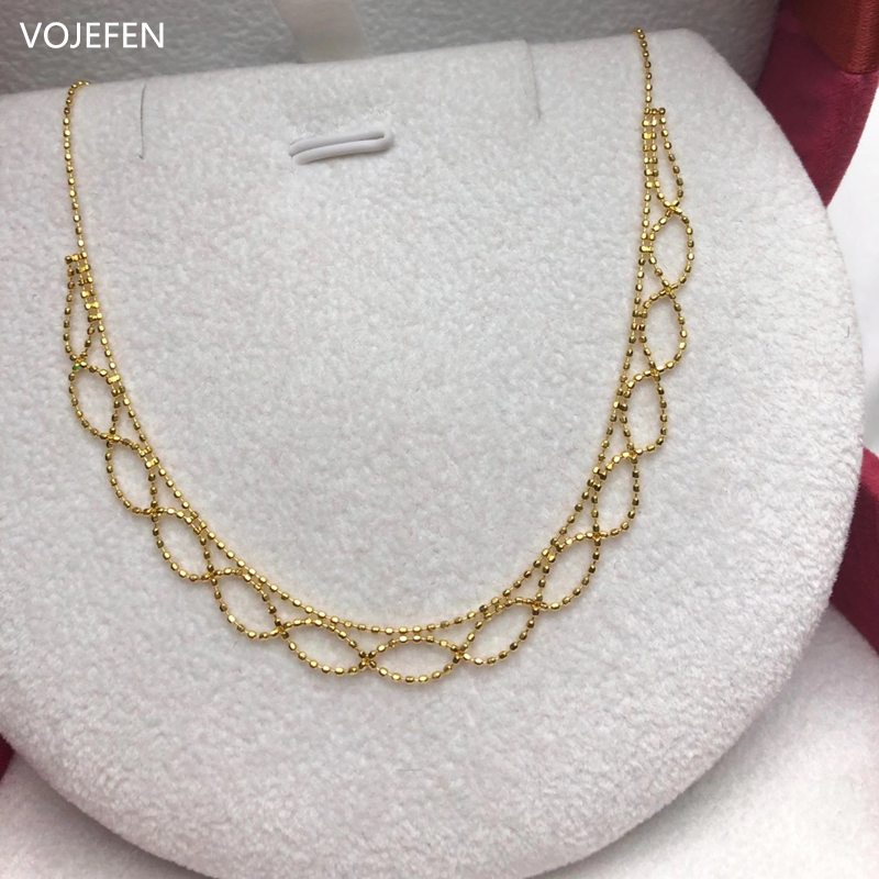 VOJEFEN AU750 Real Gold Necklace Jewelry Retro Handmade Craft Lace Royal Choker Necklace 18k 'Flower Lace' Necklace For Women 1