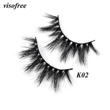Visofree 3D Mink Lashes Eyelashes Cruelty Free Handmade False Cross Thick Makeup Beauty Faux Cils K02