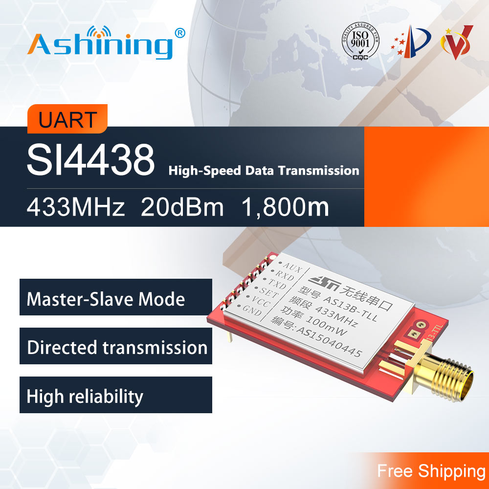433MHz 100mW Wireless Serial Port Module AS13B-TTL Low Power Consumption Command Transmission