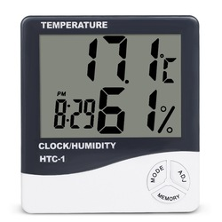 LCD Electronic Temperature Humidity Meter Indoor Room Digital Thermometer Hygrometer Weather Station Alarm Clock HTC-1