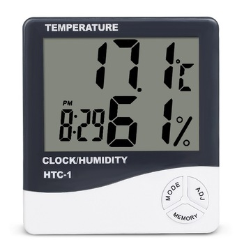 LCD Electronic Temperature Humidity Meter Indoor Room Digital Thermometer Hygrometer Weather Station Alarm Clock HTC-1 weather station touch screen wireless indoor thermometer hygrometer digital alarm clock barometer forecast meter digital alarm