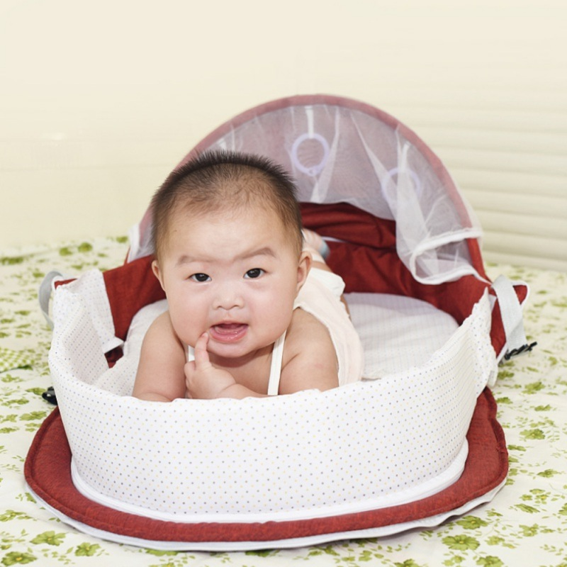 Portable Baby Bed With Toys Foldable Baby Bed Travel Sun Protection Mosquito Net Breathable Infant Sleeping Basket