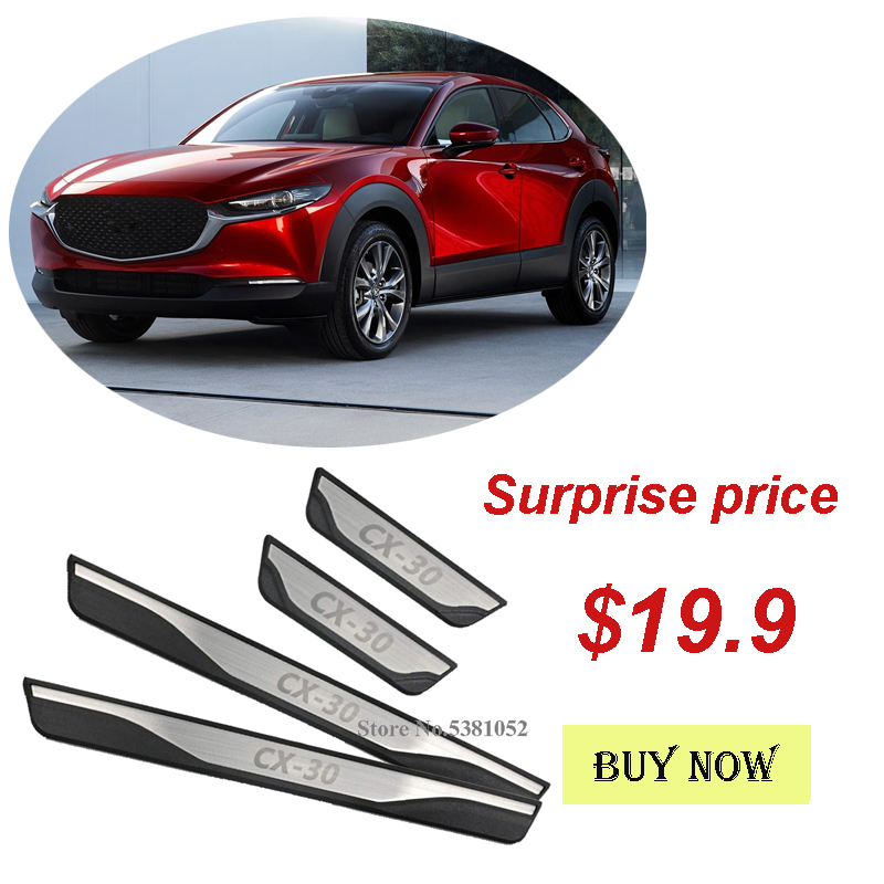 Trim Scuff Pedal Threshold Cover Protection Plate Ticker Accessories Stainless Steel N//A 4 Pcs Car Door Sill Protector For MAZDA CX-30 CX30 2019 2020