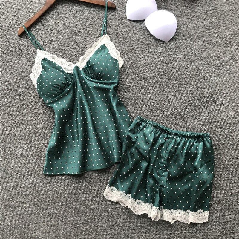 Sexy Women Pajamas With Chest Pad Satin Flower Print Pijamas Female 2 Piece Set 2019 Summer Pajamas For Women Pyjama Nightsuits
