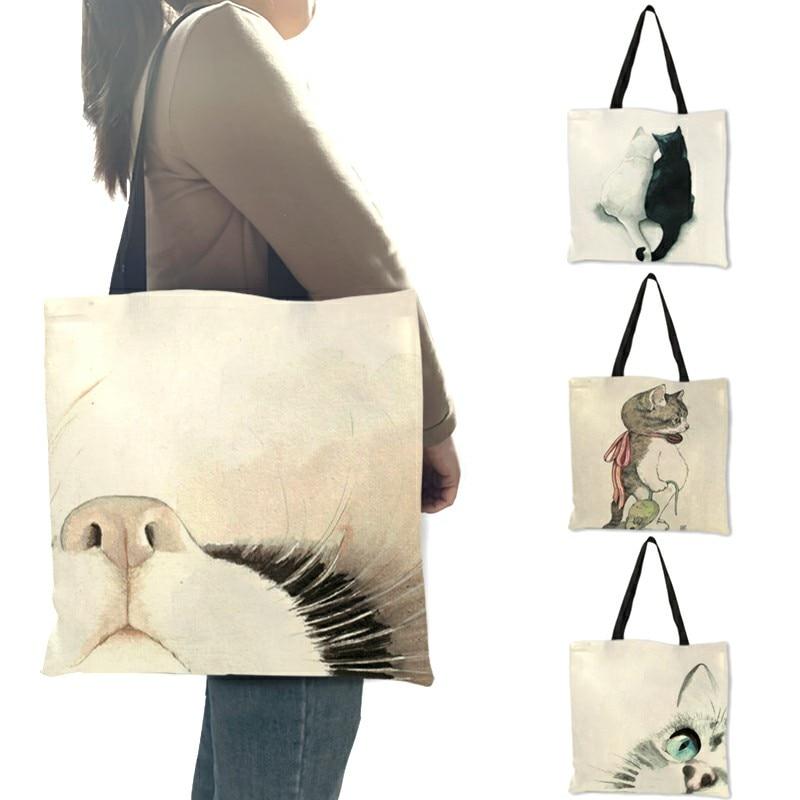 Акварельная Сумка-тоут с ручной росписью, милая Наплечная Сумочка с цветочным принтом кота для женщин, Офисная Повседневная Дамская сумка д...