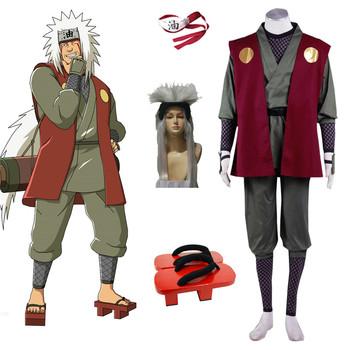 High Quality Anime Luxury Costumes Naruto Jiraiya Cosplay Costume Halloween Costumes Accessory Red Headband Wig Uniform Set tanie i dobre opinie Kombinezony i pajacyki Unisex Dla dorosłych Zestawy 19039 Poliester Kostiumy Fancy Dress